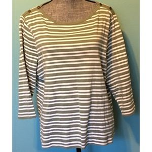 Chico's Sage Green Striped Top Boat Neck 3 14 XL
